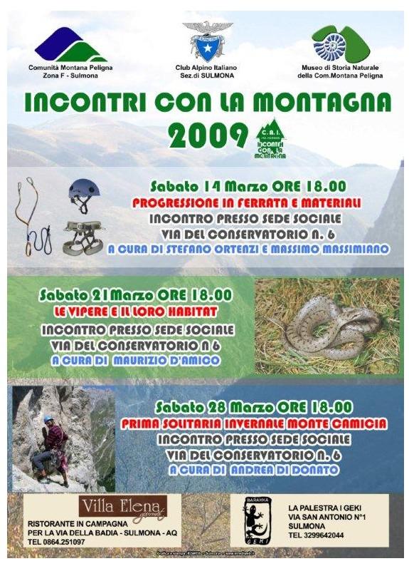 2009.03.14/28 Incontri con la montagna 2009 - CAI Abruzzo ...